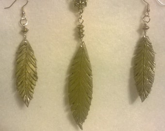 Gold polymer clay Feather necklace and matching earings