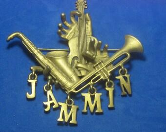 VINTAGE Antique Brooch  Musical Instuments