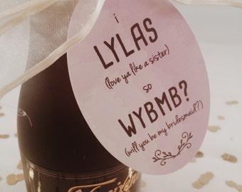 "will you be my bridesmaid oval hang tags // ""lylas"""