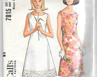 Vintage 1960s  McCall's 7815 Sleeveless Summer Dress Sewing Pattern Size 12 Bust 32