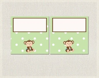 Monkey Buffet Food Tent Cards Blue Green Polka Dots Printable Buffet Labels Boy Baby Shower BS-131