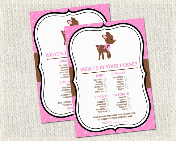 ... Baby Shower Games Pink Woodland | Handbag Guess Game Girl Baby Shower
