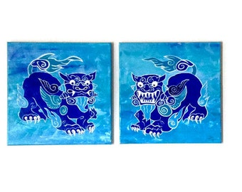 Okinawan Shisa Dogs Original Art Acrylic Painting Stretched Canvas Okinawa Series