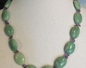 Amazonite and amethyst chip necklace