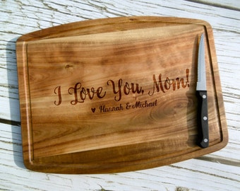 I Love You Mom Cutting Board, Personalized Cutting Board, Custom, Cheese Board, Mother's Day Cutting Board, Gift for Mom, Mom Birthday, Gift
