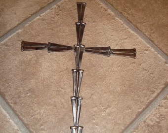 "Conceret Nail Cross Jesus Welded Steel Crucifix Religious Masonry Nails Real Nails 9"" tall Crosses Christmas Holiday Gift"