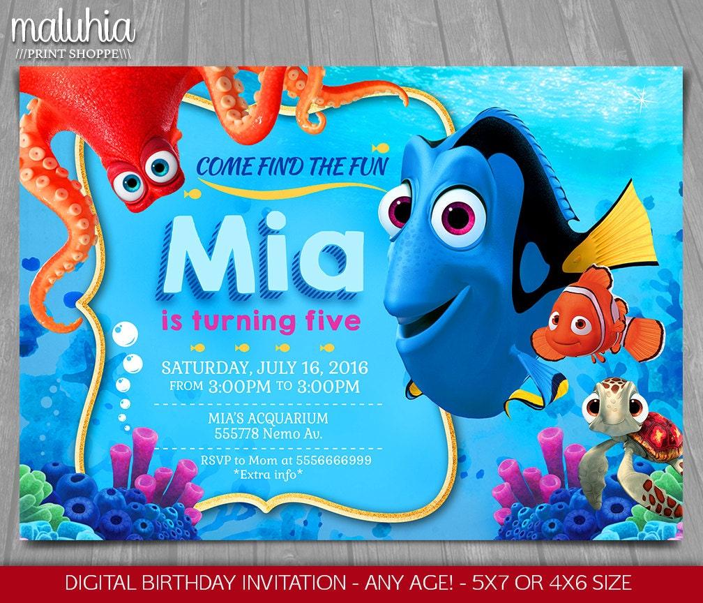 Finding Dory Invitation Finding Nemo Dory Invite Disney