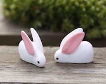 Miniature Rabbit Figurine White Bunny Pink Ear Forrest Animal Cute tiny Mini Terrarium Doll House Accessory