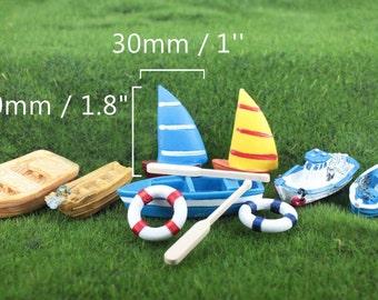 Summer Miniatures, Small Fishing Boats, Sail, Raft, Anchor, Yacht, Ship, Tube, Beach Terrarium Ocean Nautical Mini Decor Accessory