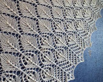 Knitted shawl, wedding shawl, bridesmaids shawl, knit lace shawl in ivory color, triangular shawl, gift for her