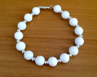 SALE Chunky white and silver beaded bracelet, chunky bracelet, white bead bracelet, 8mm beaded bracelet, white bracelet, silver bracelet
