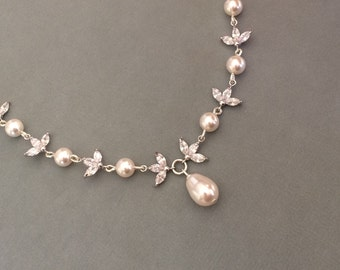 SALE Bridal pearl necklace, Sterling silver cubic zirconia and swarovski pearl necklace, crystal wedding jewellery, swarovski bridal jewelle