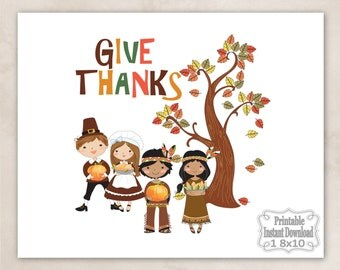 Printable Give Thanks Thanksgiving Pilgrims Indians Pumpkins Wall Art Decor Sign Baby Child Kids ~ DIY Instant Download ~ 1 8x10 Print