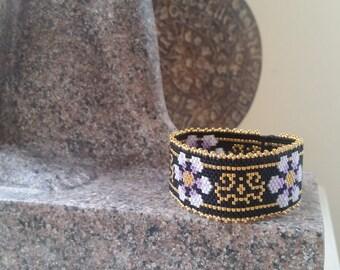 cuff bracelet beads miyuki fine glass