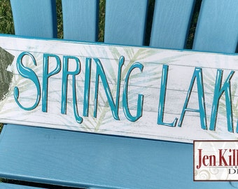 """Jersey Shore Beach Town Sign / """"SPRING LAKE"""" / Spring lake / Jersey Shore Art / New Jersey / Jersey Shore Town Sign"""