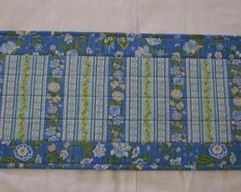 "Handmade Quilted Table Runner, Blue Green Floral, 12"" x 34"" (Runner2074-31-40)"