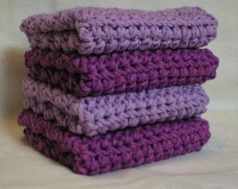"Handmade Crochet Washcloths Dishcloths 4-Pk 2 Purple 2 Lavender 8"" (#6023)"