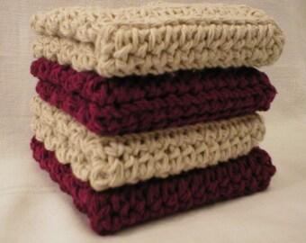 "Handmade Crochet Dishcloths Washcloths 4-Pk, 2 Burgundy, 2 Beige, 8"" (#Dishcloths6344)"