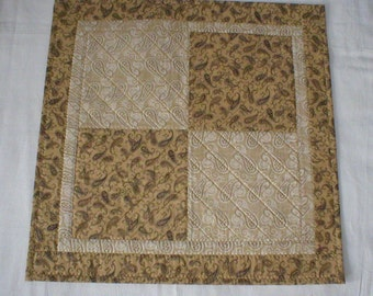 """Handmade Quilted Square Table Topper or Centerpiece, Brown, Tan, Beige, 22"""" (Topper2064)"""