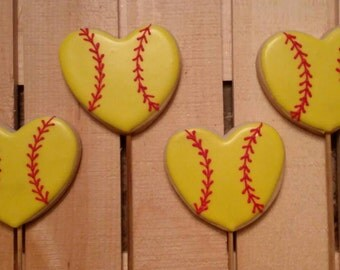 Softball heart cookies for your softball lover!  One dozen heart shaped or round