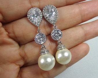 Swarovski Ivory Cream Pearl Bridal Earrings, Ivory Pearl Earrings, Wedding Earrings, Bridesmaid Gift Earrings, Pearl Dangle Earrings