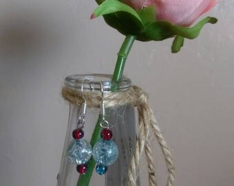 Dangle Drop red and blue earrings