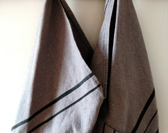 Repurposed Cotton Drop Cloth and Denim Market Bag- Grey with Black Stripes