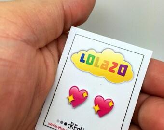 Sparkling Heart Emoji Earrings, Sparkling Heart, Emoji, Earrings