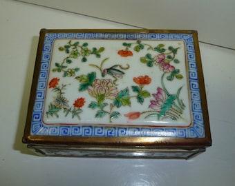 Very Beautiful Chinese Porcelain & BrassTrinket Box.