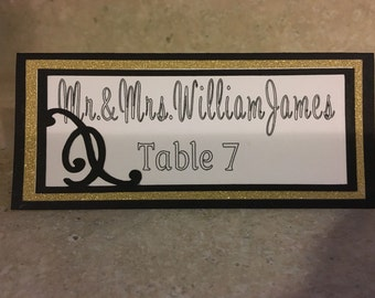 Gold and black wedding place cards, seating cards, glitter place cards