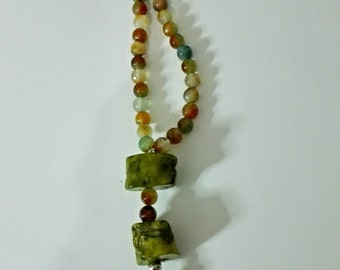 Agate and green bamboo coral necklace.
