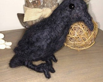 Wool Felted Crow