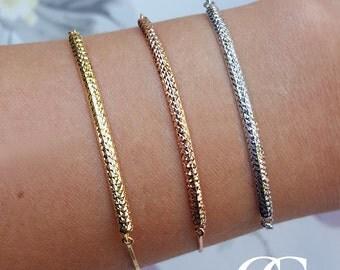 9ct Gold Diamond Cut Adjustable Bar Bracelet in Yellow, White or Rose