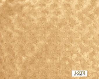 "Minky Fabric By The Yard - Camel Rosebud Rosette Swirl Fabric (36""x60"")"