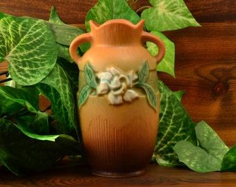 Roseville Pottery Vase Brown Gardenia Vase (Shape 681-6), 1950