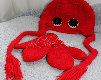 SALE!! Baby Lobster Photo Prop Set Crochet photography