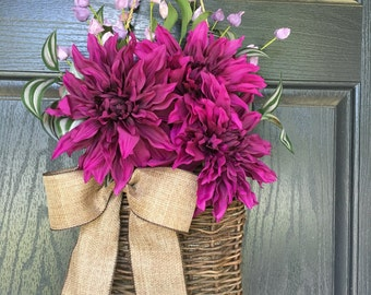 Purple and lavender dahlia summer door hanger basket - wreath alternative