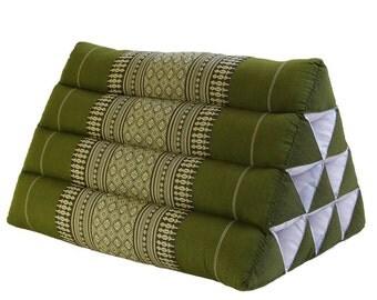 Thai Triangle Pillow Cushion Vintage Decorative Cotton Cushion, Green