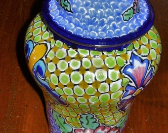 Glazed Ceramic Jar Mexico Glazed Ceramic Jar Hand Made and Hand Painted