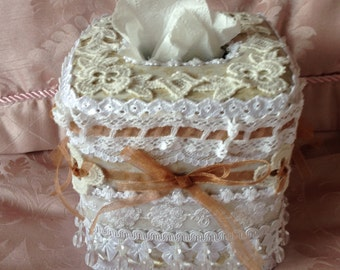 Shabby chic altered tissue box cover