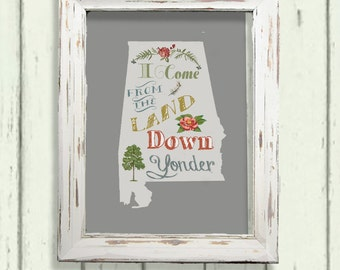 Land Down Yonder- Alabama. Floral art print. Digital Download printable. Southern pride.