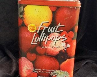 Antique Chupa Chups Fruit Lollipop Tin Can,Collectable Tin Can,Candy Tin Cans,Fruit Lollipop Can,Vintage Tin Can,