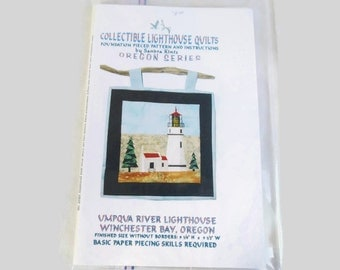 Quilt Pattern -  Collectible Lighthouse Quilts - Foundation pieced  Umpqua River Lighthouse Winchester Bay Oregon - E5