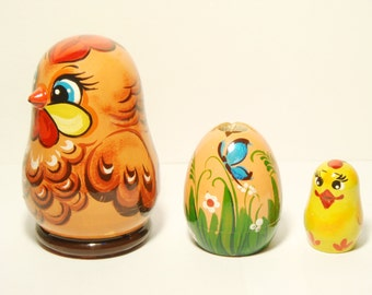 Nesting Dolls Chicken with egg, Matryoshka Doll 3pcs 8,5 cm, Gift for Mom, Easter decorations, Kids Gift, Funny Gifts, Room Decor