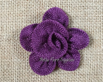 Plum Burlap  Flowers, Eggplant Burlap Flowers- Dark Purple Burlap Flowers- 3 inches, Burlap Flowers, Wedding Supply, Burlap Rose