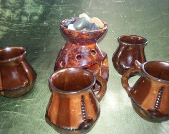 4 mugs and candlestick Candle holder for Floating Tealight