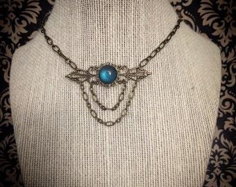 Vintage necklace // Victorian necklace // antique brass filigree necklace // gothic necklace