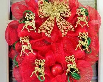 Christmas Reindeer Deco Mesh Wreath - Red, Green & Gold