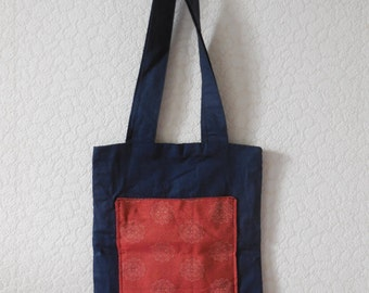 Blue cotton bag and former Japanese fabric