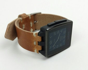 Pebble Steel Leather Watchband